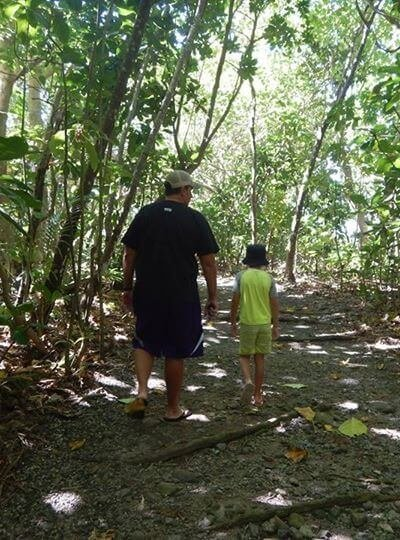 A benefit of hiking with kids is exercise