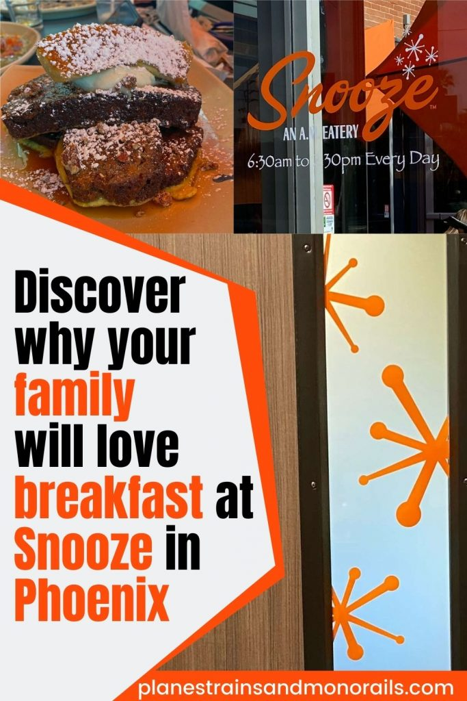 title graphic showing French toast, some decor, and a logo and the words discover why your family will love breakfast at Snooze in Phoenix